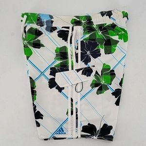 Adidas Hibiscus Flower Print Board Shorts Sz XL